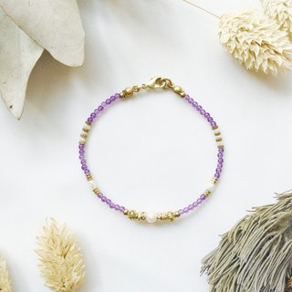 Gaia Series - Amethyst Brass Bracelet / February Birthstone