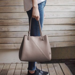 Large Tote Bag-warm grey