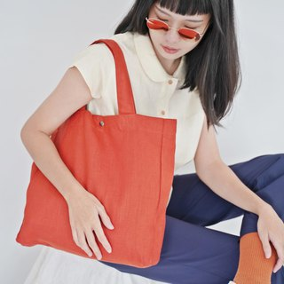 Casual Linen Tote Bag (Scarlet)