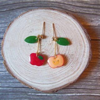 Hand painted series summer apple earrings