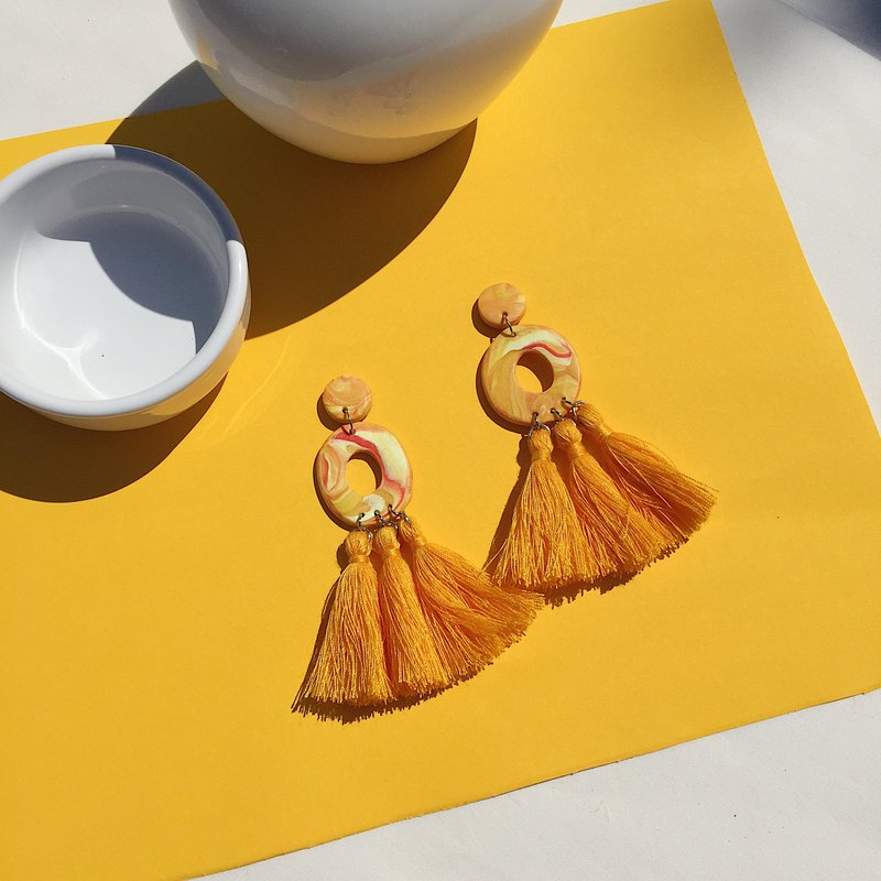 Handmade clay earrings, polymer clay, yellow marble earrings with tassel