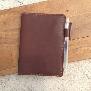 A6 notebook with muji notebook, put the card, insert pen hand-stitched, leather [then leather] dark brown