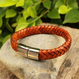 Bracelet - Trust - Leather Bracelet - หนังแท้ สีแทน Tan (Genuine Cow Leather)