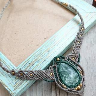 N58 Bohemian ethnic style two-tone South American wax braided brass green dragon crystal necklace clavicle chain