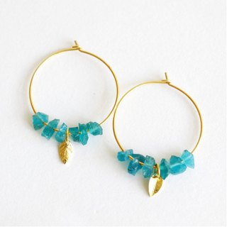 Blue apatite hoop earrings - 18k gold plated earrings