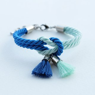 Light mint & Vivid blue knot bracelet with tassel charm