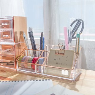 Acrylic Rose Gold Desktop Makeup Organizer (10 Slots)