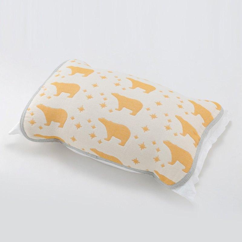 【日本製三河木綿】加厚款六重紗枕套-星座北極熊