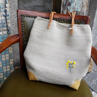 Gentle daisy - Cotton heel knit shoulder bag