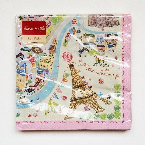 Aimez le style napkin 10 into the German system [painted map of Paris (00064)]