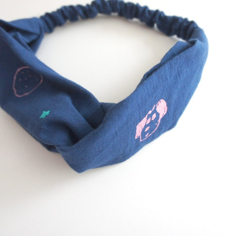 Dark blue puppy strawberry hand-printed hair band