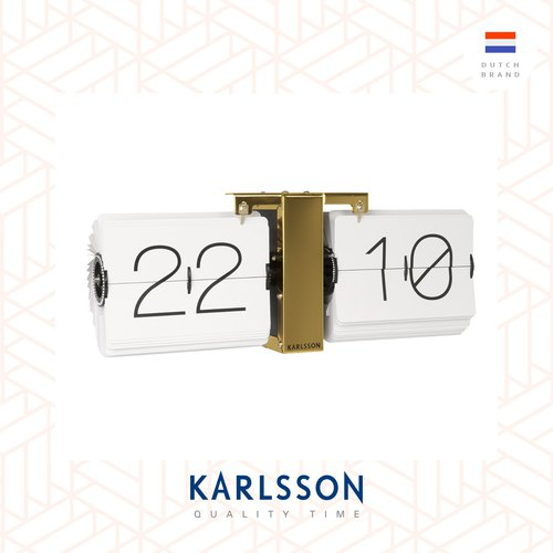 (pre-order) Karlsson, Flip clock No Case white, brass stand (Table/Hanging)