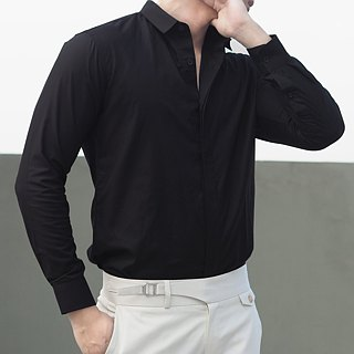 White mao collar shirt with textured