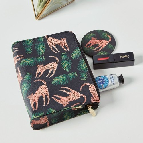 7321 Design Painted Graffiti Leather Zipper Cosmetic Bag -BBH Flower Leopard Jungle, 73D86960