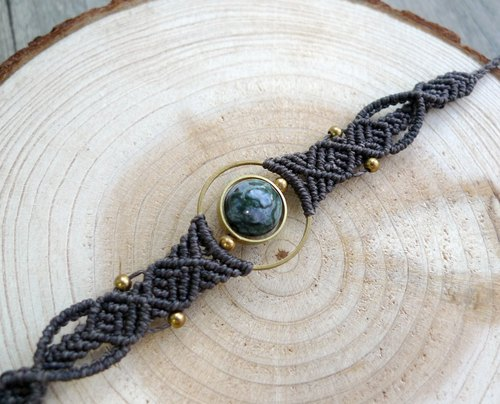 Misssheep- [H18] ethnic wind gray South American wax braided brass ring agate bracelet