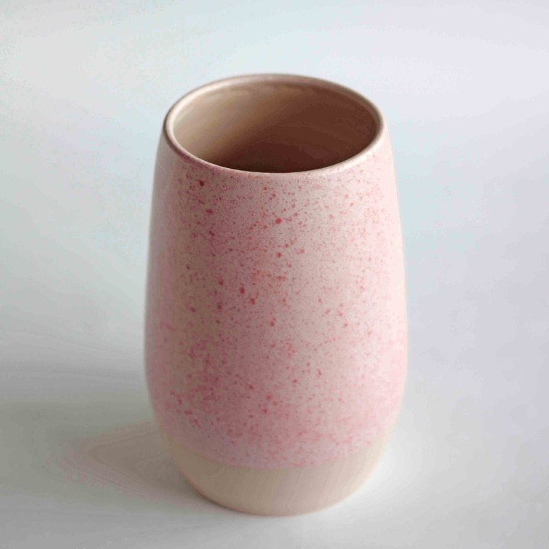 Handmade Ceramic Belly Vase - Pastel Sakura Pink Speckled