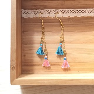 "armei ""custom"" Little green tassel earrings color mixing and rainbow Petite Tassel Earring green. rainbow"