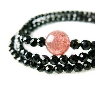 READ Dazzling firm belief | hand made black spinel strawberry crystal three circle hand beads