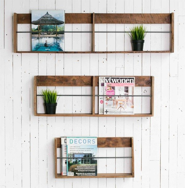 Home Solutions Double Frame Walled Teak Bookshelf - Large