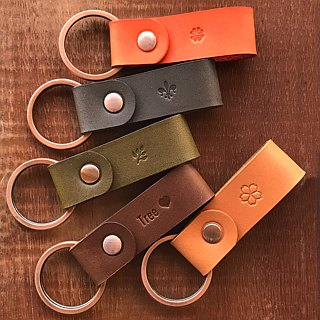 Cube leather key ring - forest department [2 groups] colorful multi-color custom gift