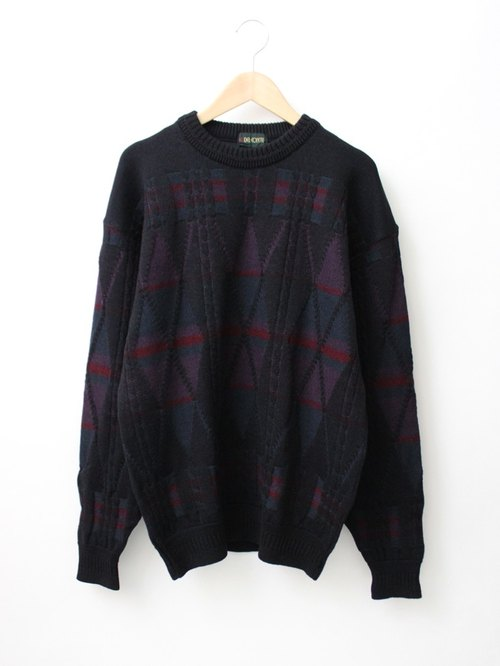 [RE1222SW070] Nippon dark lines geometric mosaic knitting wool loose vintage sweater