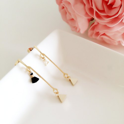 :: :: minimalist geometric series of simple geometric triangle tassel personality asymmetrical earrings / :: Minimalist Geometric Collection :: Gold Plated Asymmetrical Triangle Geometric Minimalist Black Tassel Layered Drop Earrings
