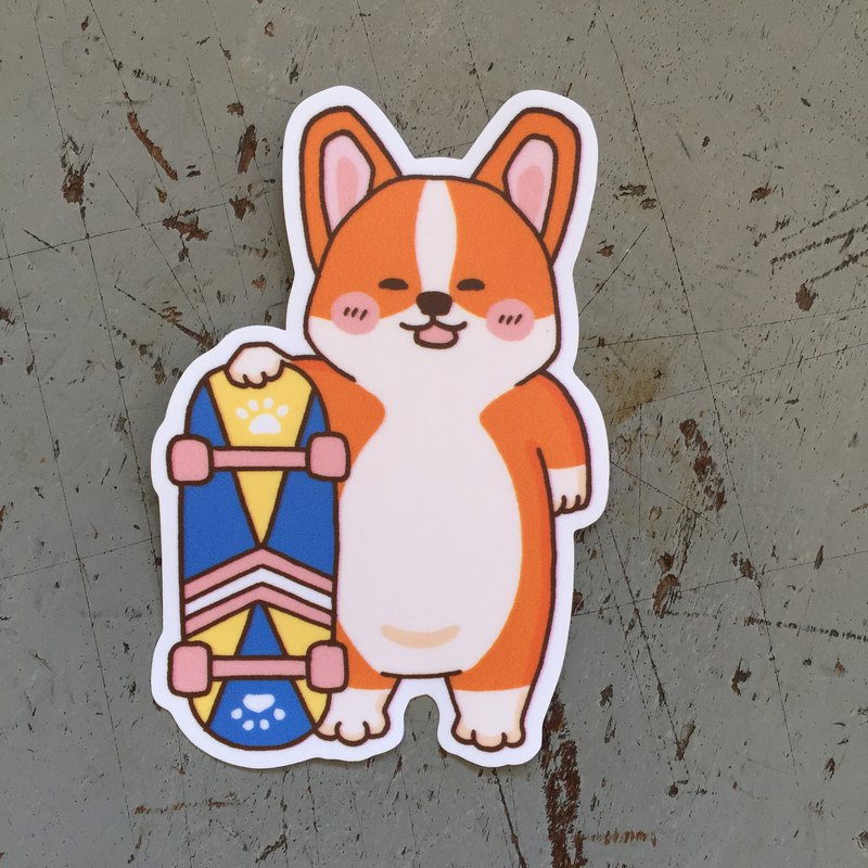 Corgi skateboard small waterproof sticker SS116