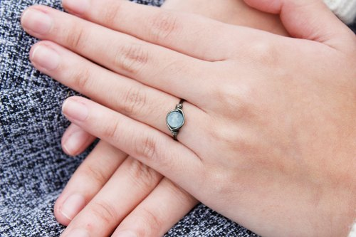 6mm ice kind of aquamarine ring line (gray matte copper) Baby Blue