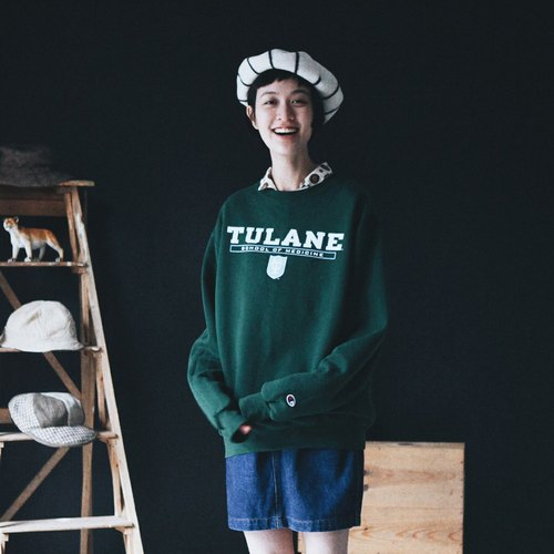 A ROOM MODEL - VINTAGE, CG-0626 Champion TULANE dark green University Tee