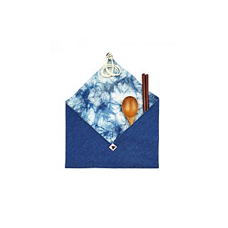 Goody Bag - Blue dyed cloth package wood tableware set (3 optional)
