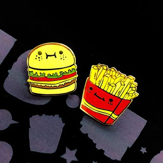 Cute full metal brooch - burger and fries