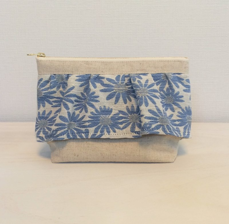 Margaret floral jacquard ruffle gusseted pouch Blue
