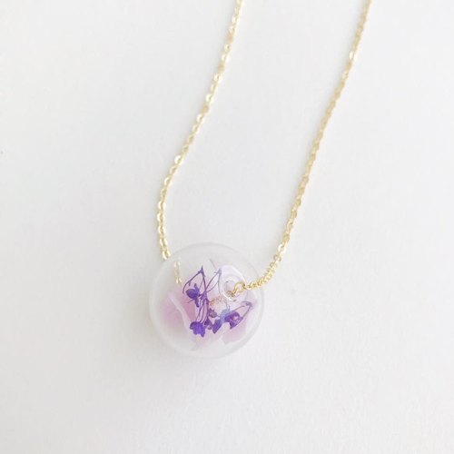 Purple violet Preserved Flower Planet Glass Ball  Necklace Birthday Gift Christmas gift for her girlfriend