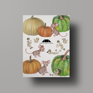Auspicious Pattern Rat Illustration Postcard - Mouse Luck Gourd/Hui Ran Paper Series