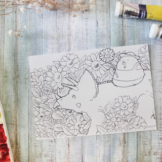 Bear Coloring Postcard - Triceratops and Sunflower Field