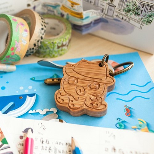 [Custom gift] [sea adventure] octopus, hippocampus, goldfish // key ring - single with lettering / family portrait