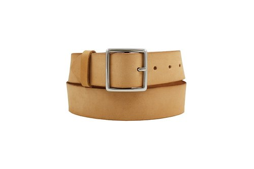 FULLGRAIN │ Italian vegetable tanned leather leather belt 4cm - bright silver gentleman date button