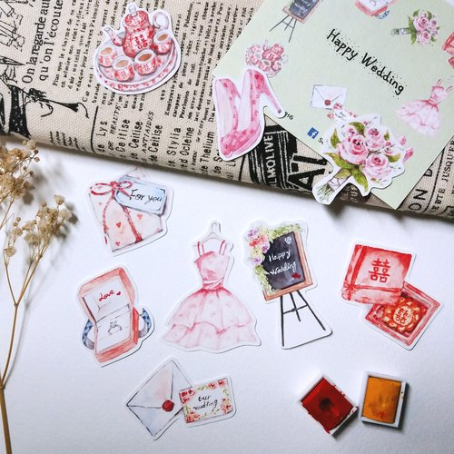 Hand-painted wedding sticker items
