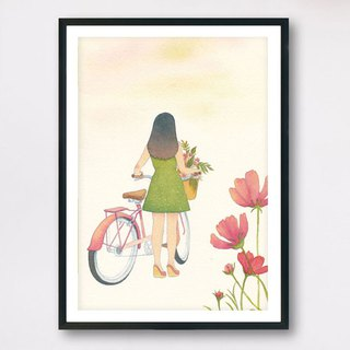 <Cycling slowly> - Slow living collection/ Art print (with cardboard frame)