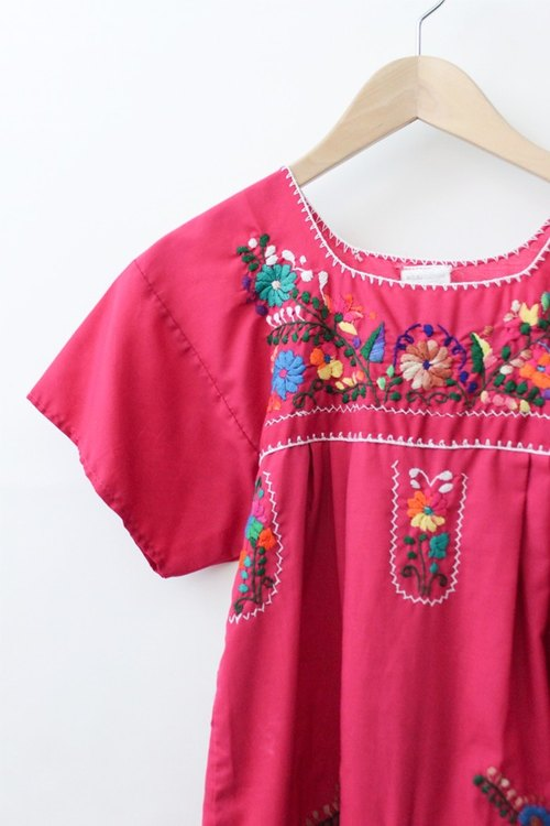 [] US Air RE0706MD031 pink bottom Mexican embroidery vintage dress
