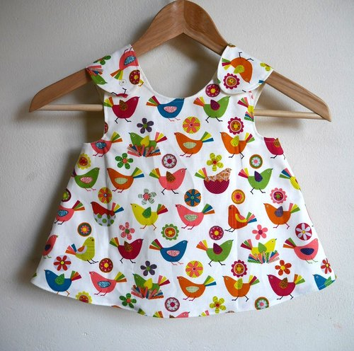 【6-12month】Baby Crossover Tunic/colerful birds