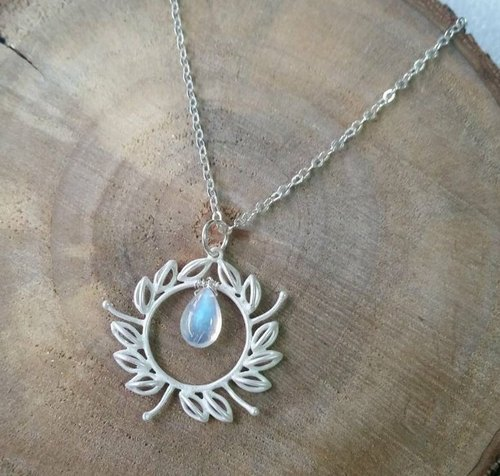 Customized - Ultra High Quality, Full Clear Vitreous Double Side Strong Blue Moon Silk Bone Necklace Perfect grade 10 / 11mm moonstone 925 silver necklace