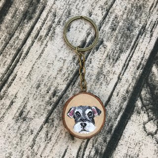 |Log Key Ring | Schnauzer 3-4 cm
