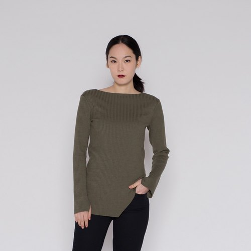 Wide collar oblique pendulum rib tops Bateau Neck Ribbed Knitwear Army Green