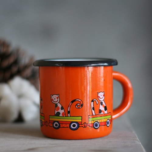 Smaltum Prague enamel cup Wang meow friend _ orange (285ml) <FDN000426>