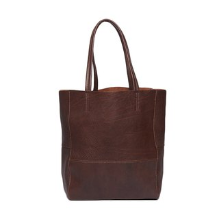 Narrow organic tote bag / Organic Tote / brown / black / leather