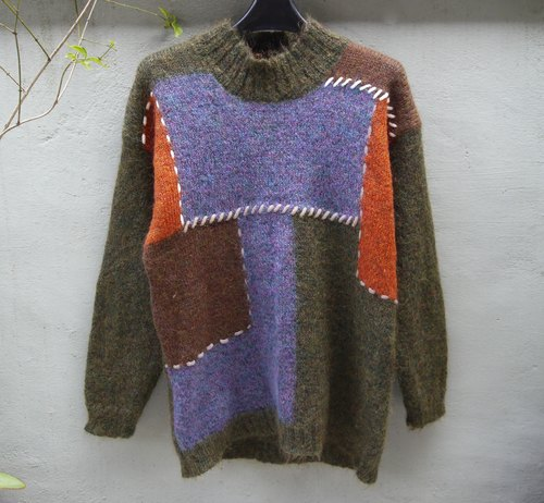 FOAK vintage color stitching high collar knit sweater