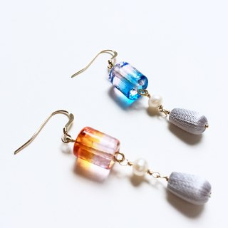 Stereo embroidery, gradient glass beads earrings, PinkoiENcontent