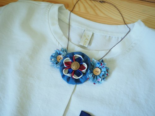 Handmade fabric flower necklace