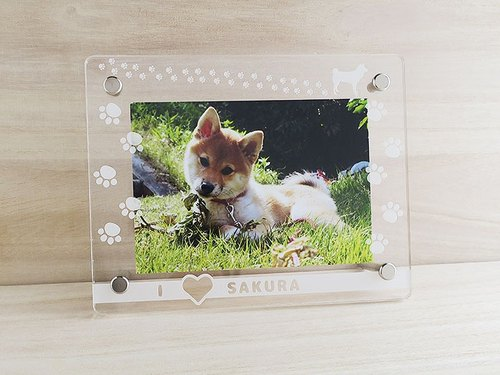 Doggy choose ☆ paws footprints photo frame (L-size size)